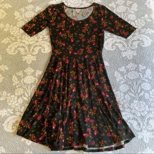 LuLaRoe Black Pink Floral Nicole Midi Dress